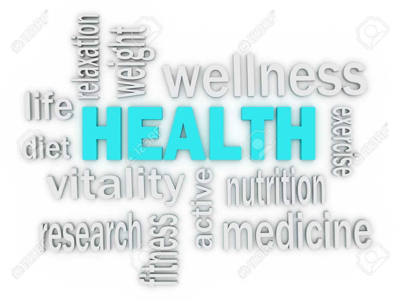 3d the word health of words related to healthcare stock photo