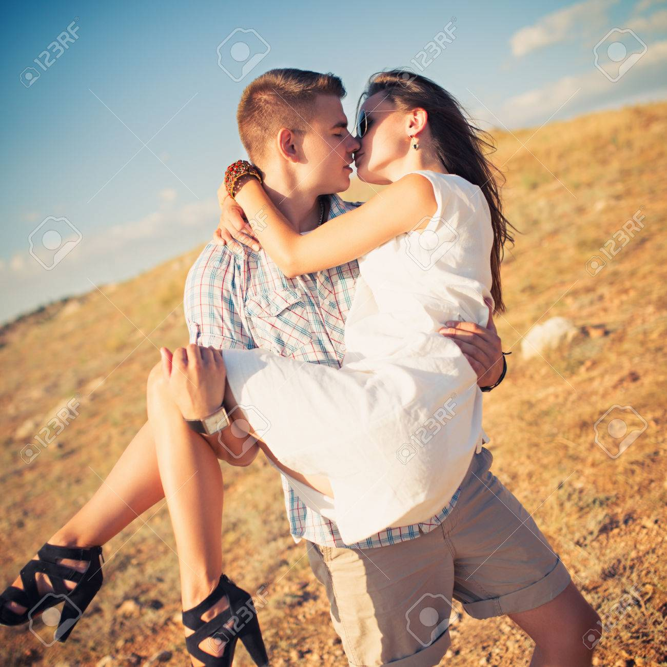 Stock photo young couple in love outdoor photo with instagram style filters