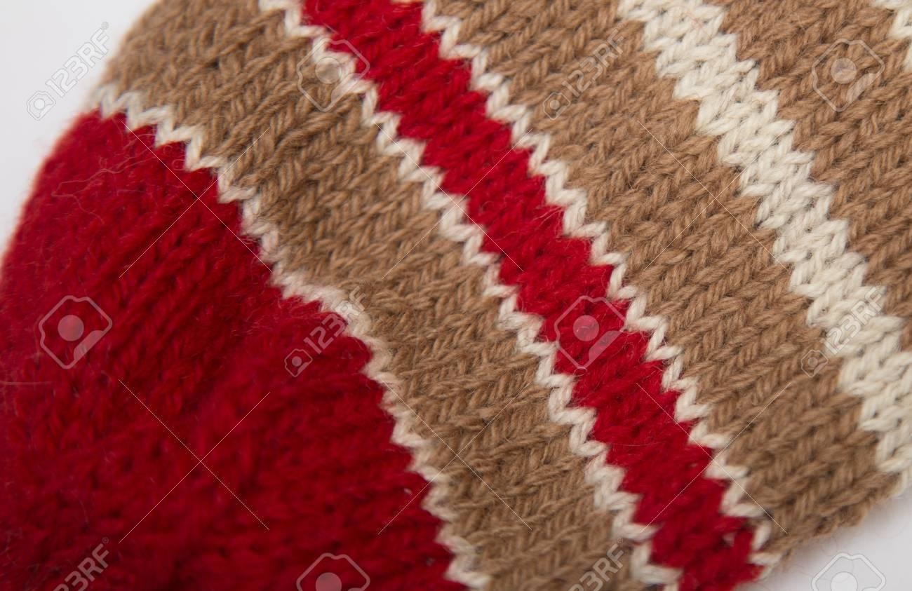 Handmade Knitted Pattern Closeup. Wool Yarn Knitting. Stock Photo ...