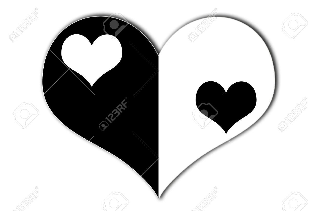 Yin Yang Corazón Símbolo Con Corazones De Blanco Y Negro En El