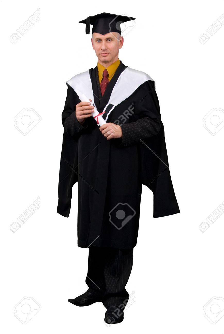 Black dress under white graduation gown - Young Man In Black Graduation Gown Holding Certificate Of Degree Isolated Over White Background