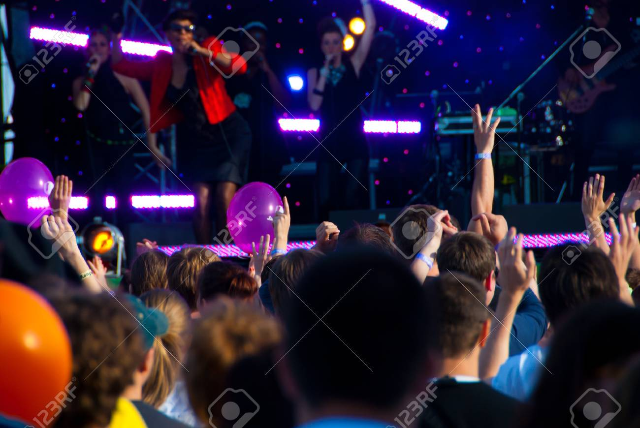 Crowd of fans at a music concert Stock Photo - 7314690