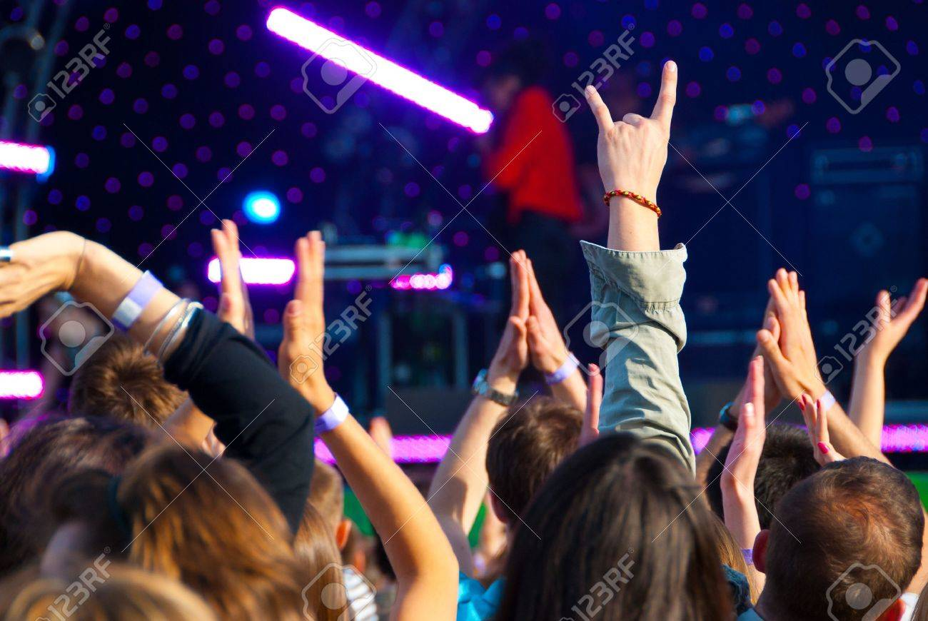Crowd of fans at a music concert Stock Photo - 7348333
