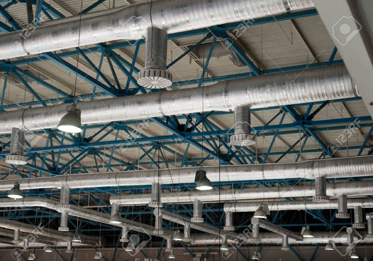 Vent System Ventilation System On The Ceiling Of Large Buildings Stock Photo