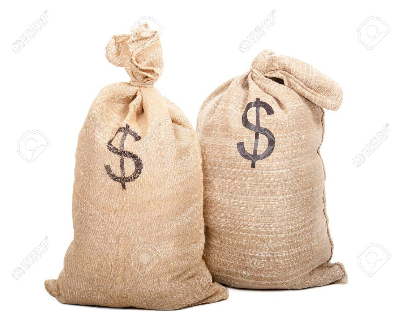 Two sacks full of dollars isolated on white background - 10406282