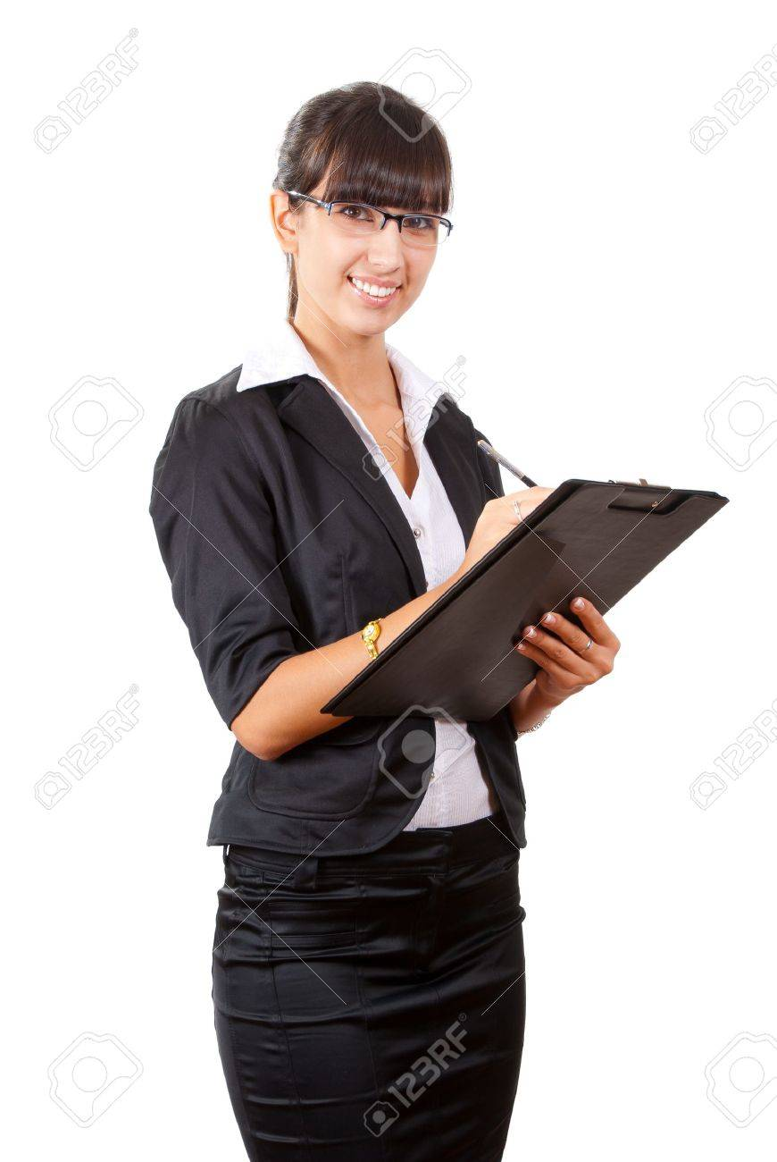 Smiling business woman writing. Isolated over white background - 10627907