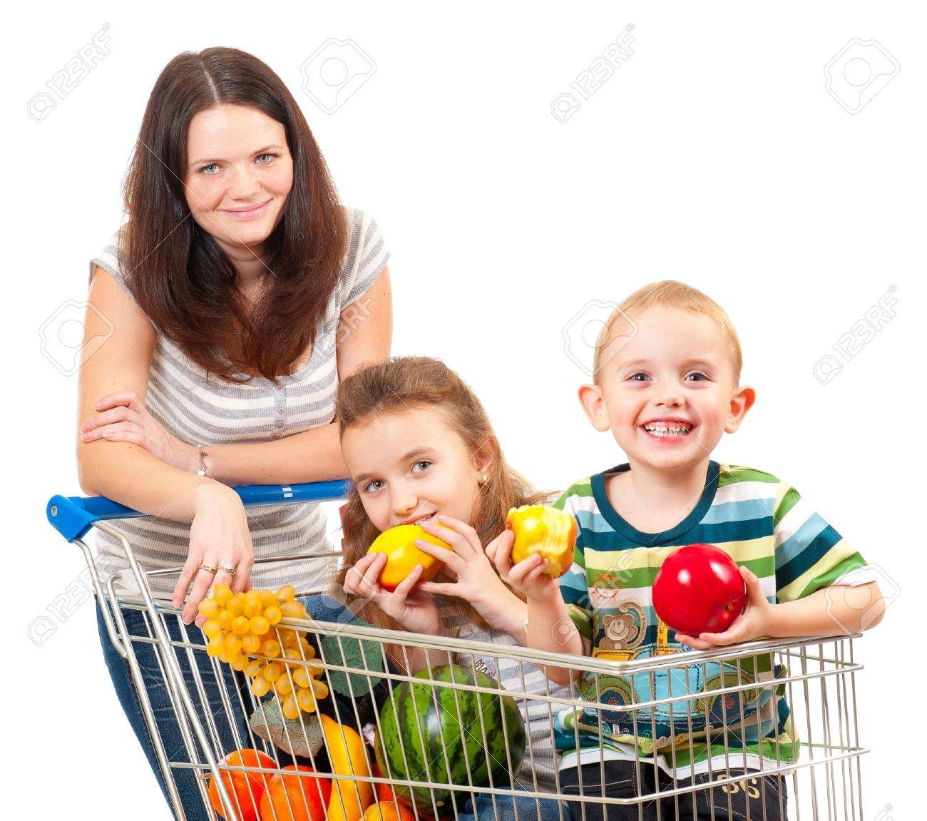 Mother carries her children in a shopping cart isolated over white - 11295688