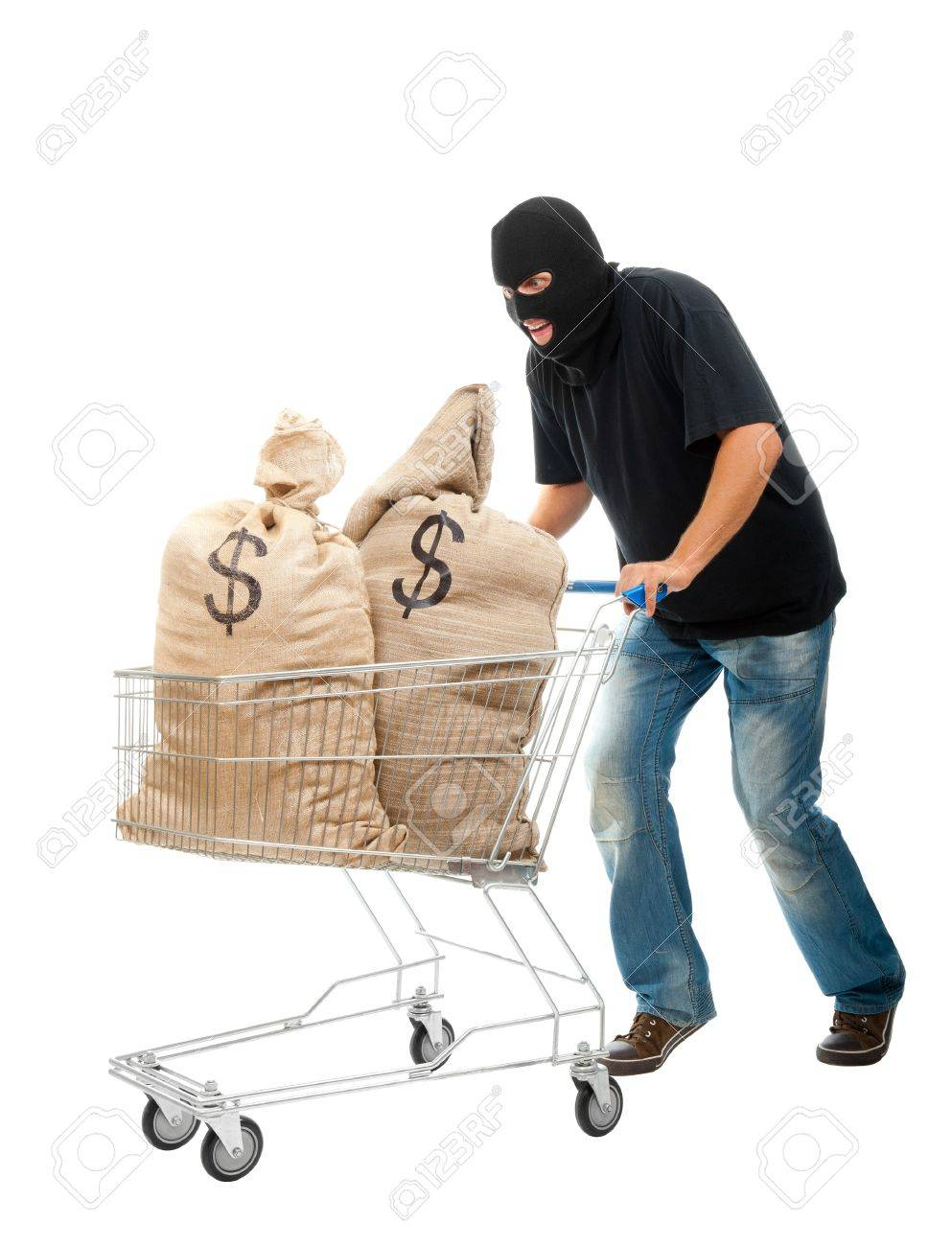 Lucky robber carries in two sacks full of dollars the shopping cart. Isolated over white. Stock Photo - 11620921