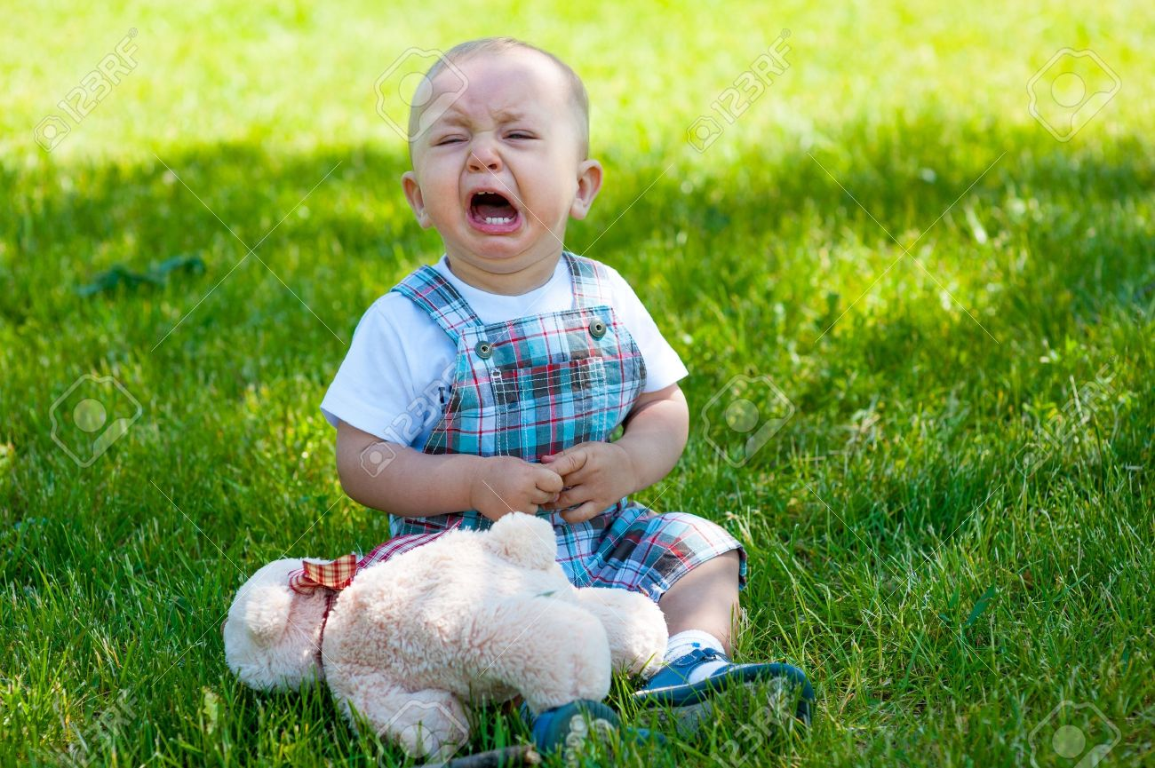 Crying toddler sitting on a grass - 14155592