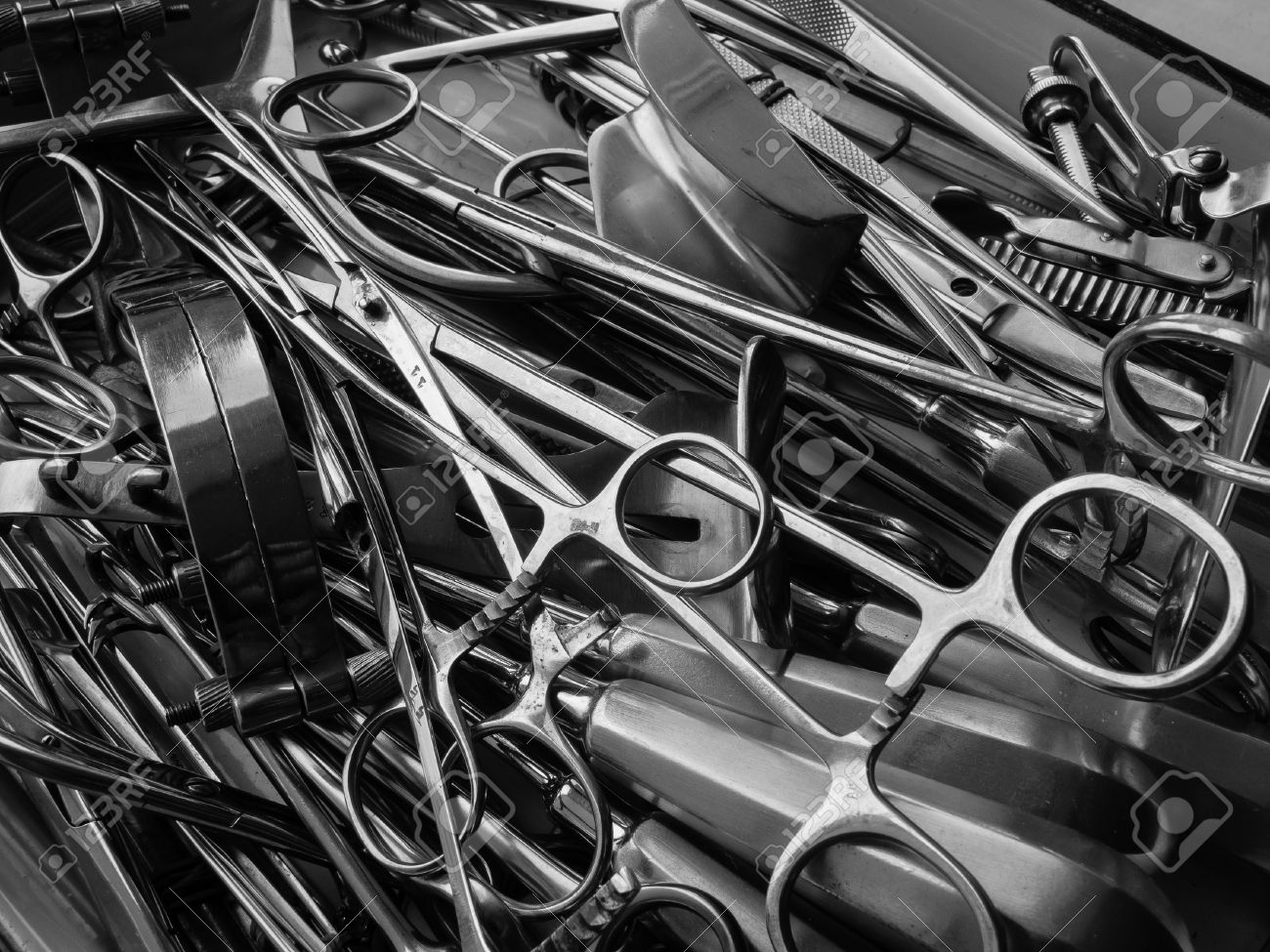 Surgical instruments black and white close-up - 14241995