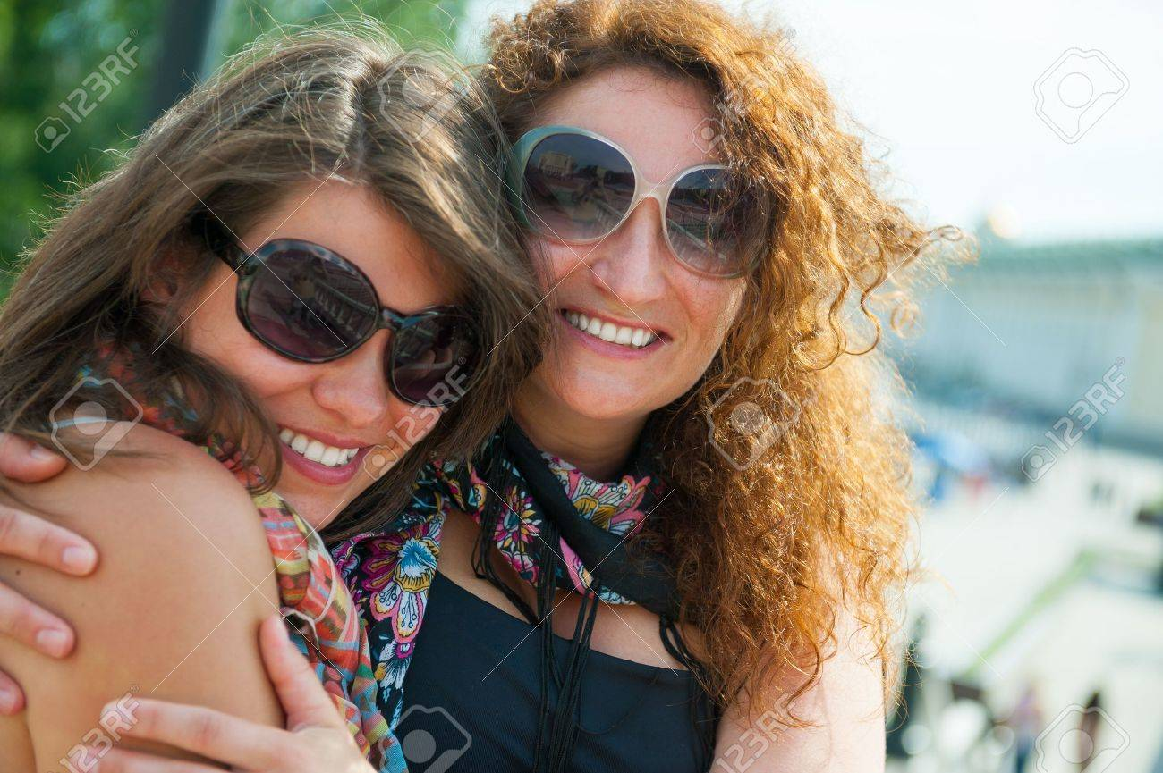 Portrait of two happy young beautiful women Stock Photo - 15044101