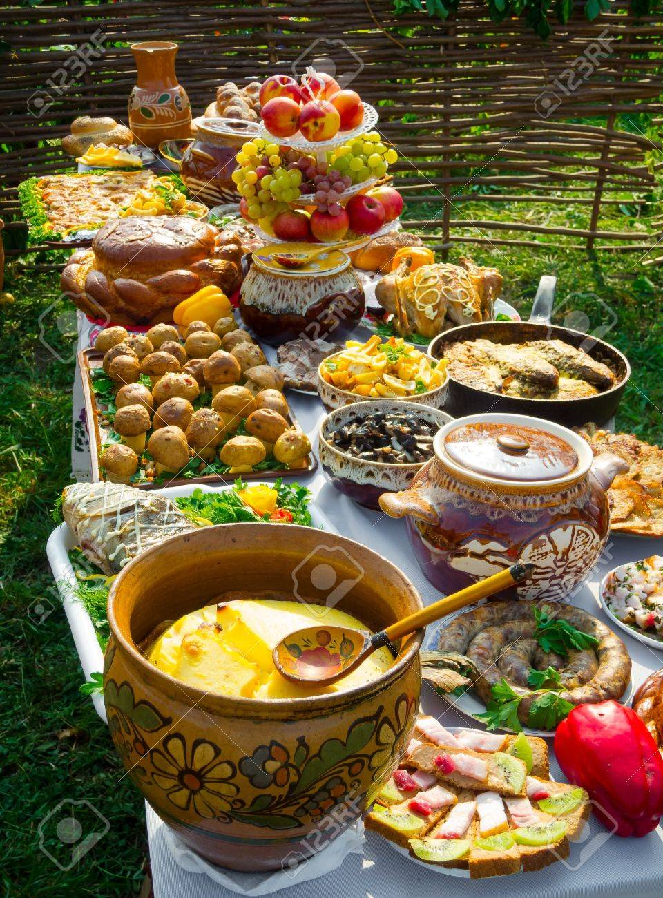 Traditional ukrainian food in assortment in festive decorating on the table - 15479772