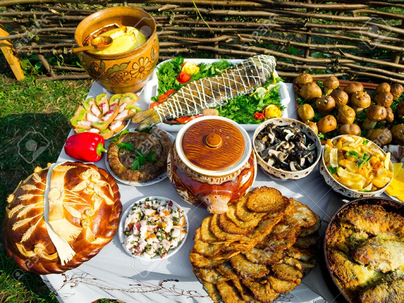 Traditional ukrainian food in assortment in festive decorating - 16086653