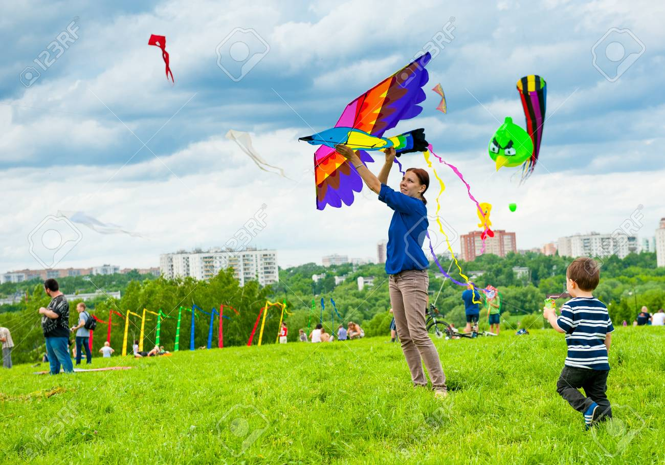 Unidentified People Fly Kites At The Kite ...