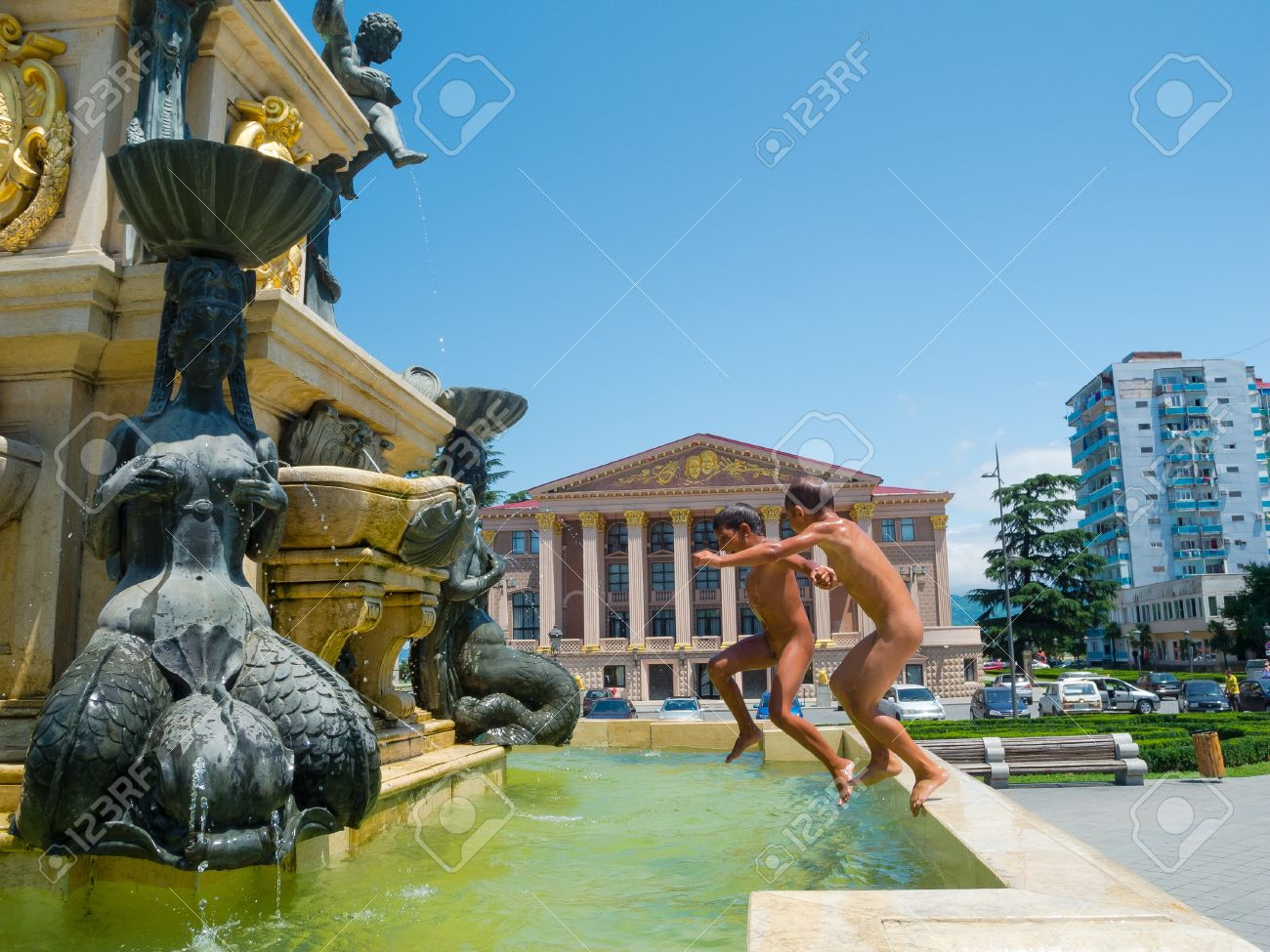 Naked in the fountain