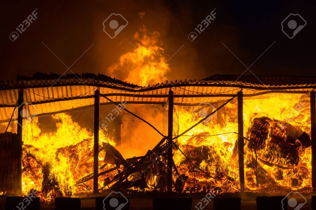 Fire at the industrial warehouse - 28015296