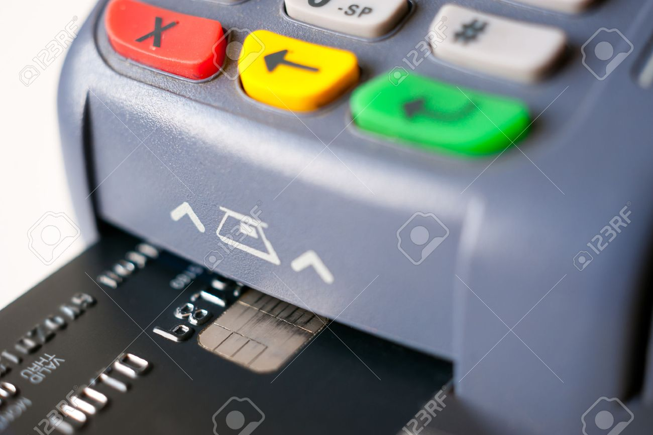 Payment using chip plastic card in POS terminal - 42690452