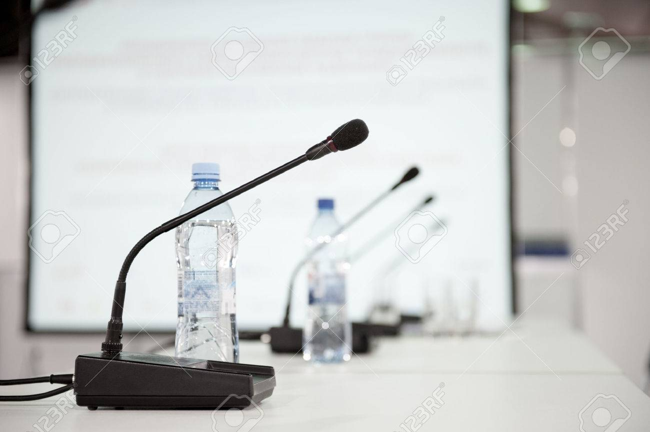 Table microphone at conference hall - 45162319