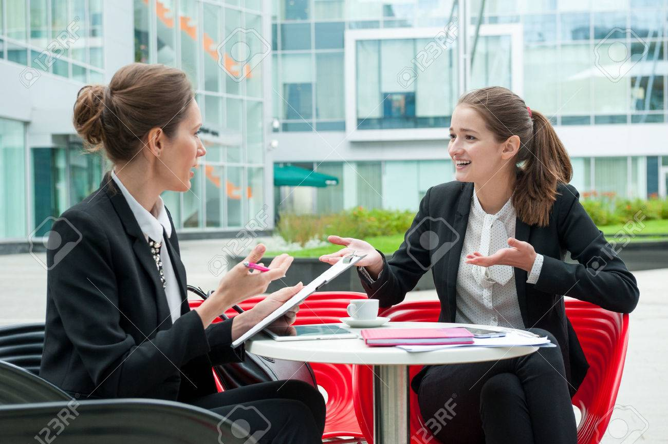 Young business woman job interview - 47345910