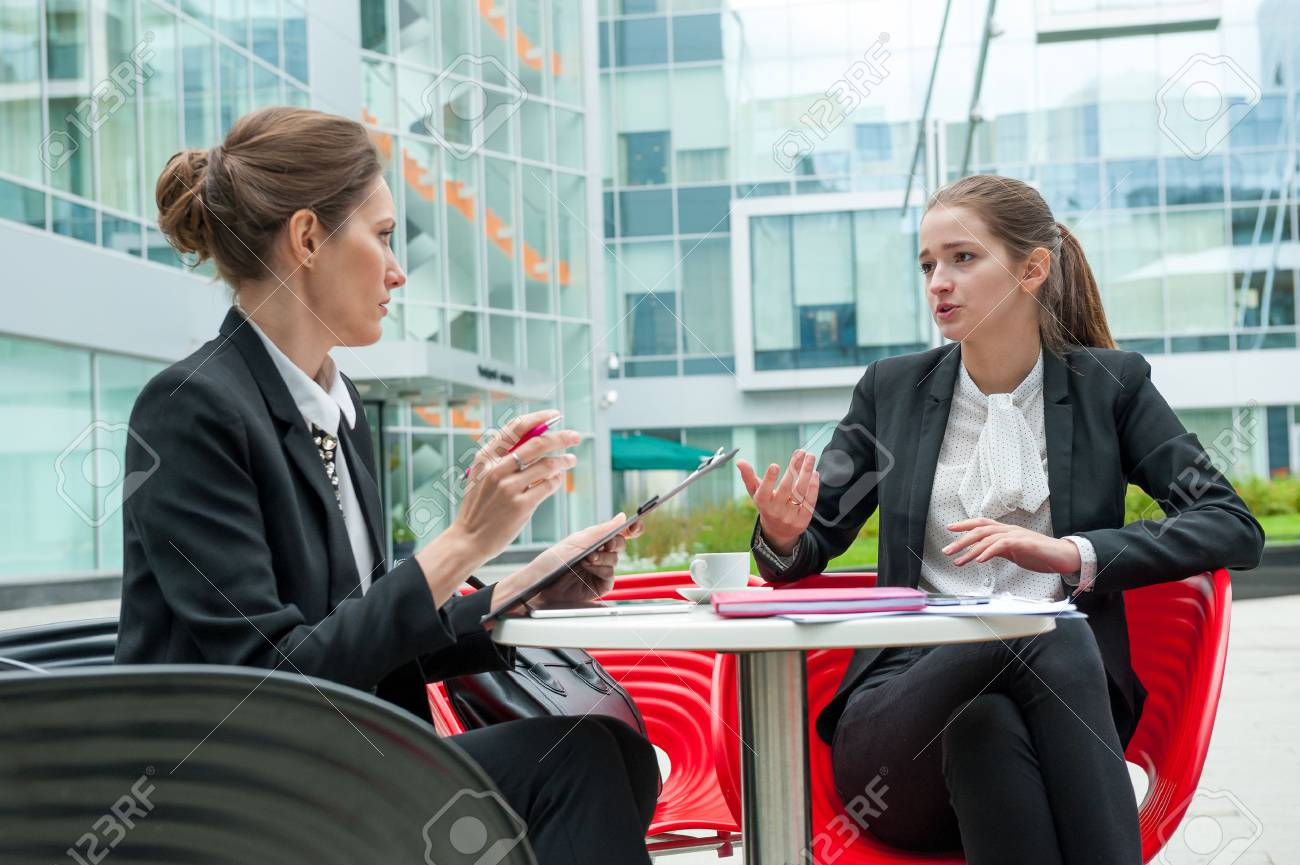 Young business woman job interview - 47345944