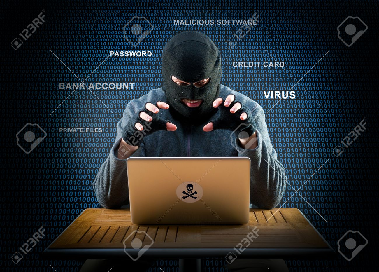 Hacker is ready to start hacking laptop - 48326914