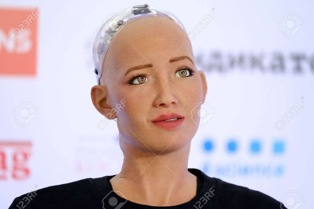 Moscow, Russia - October 1, 2017: Sophia humanoid robot speaking Russian at Open Innovations Conference at Skolokovo technopark - 88954108