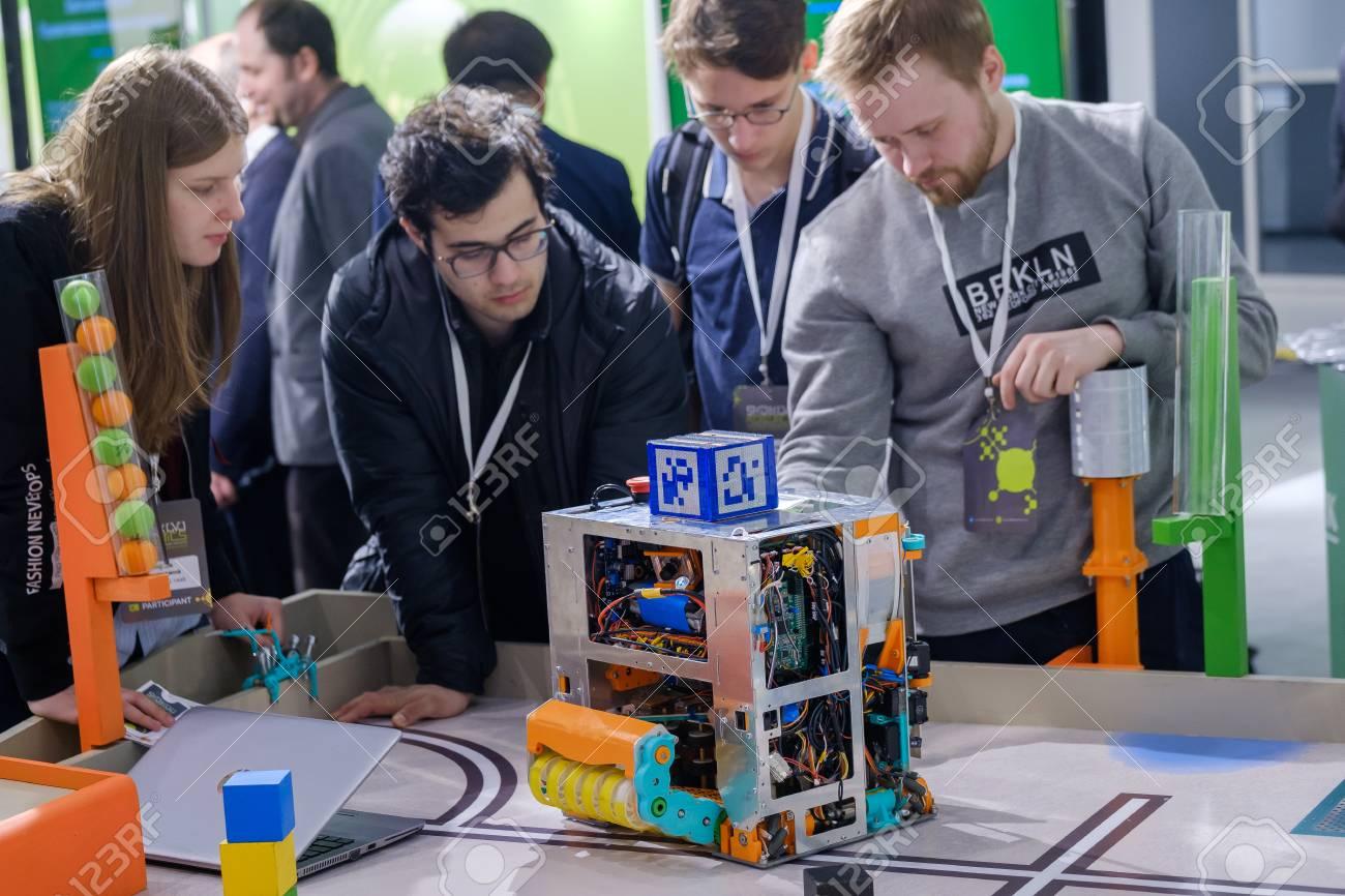 Moscow, Russia - April 24, 2018: Demonstration of new technologies at Skolkovo Robotics Forum - 104748492