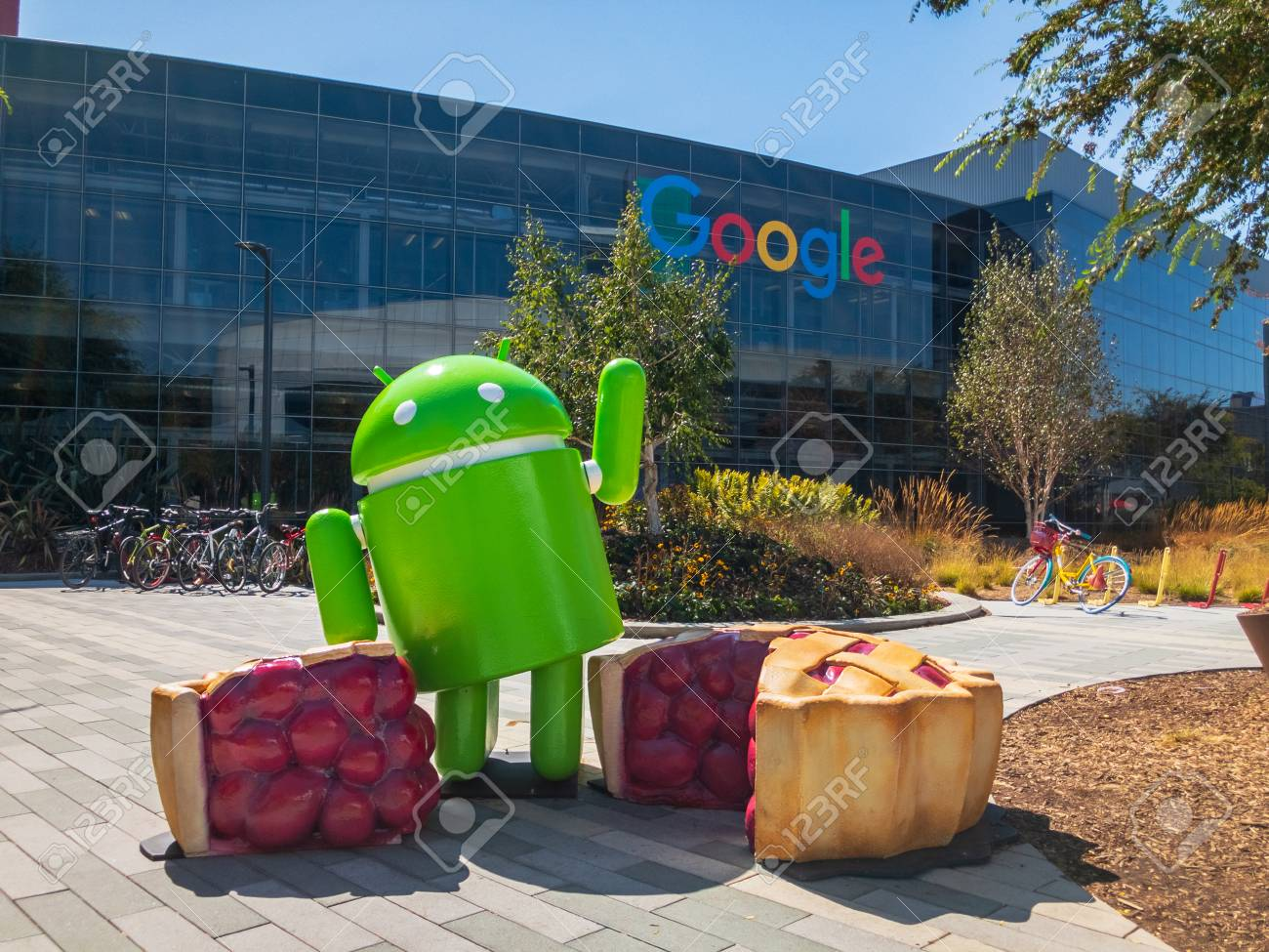 Mountain View, USA - September 25, 2018: Android statue in Googleplex headquarters main office - 127738879