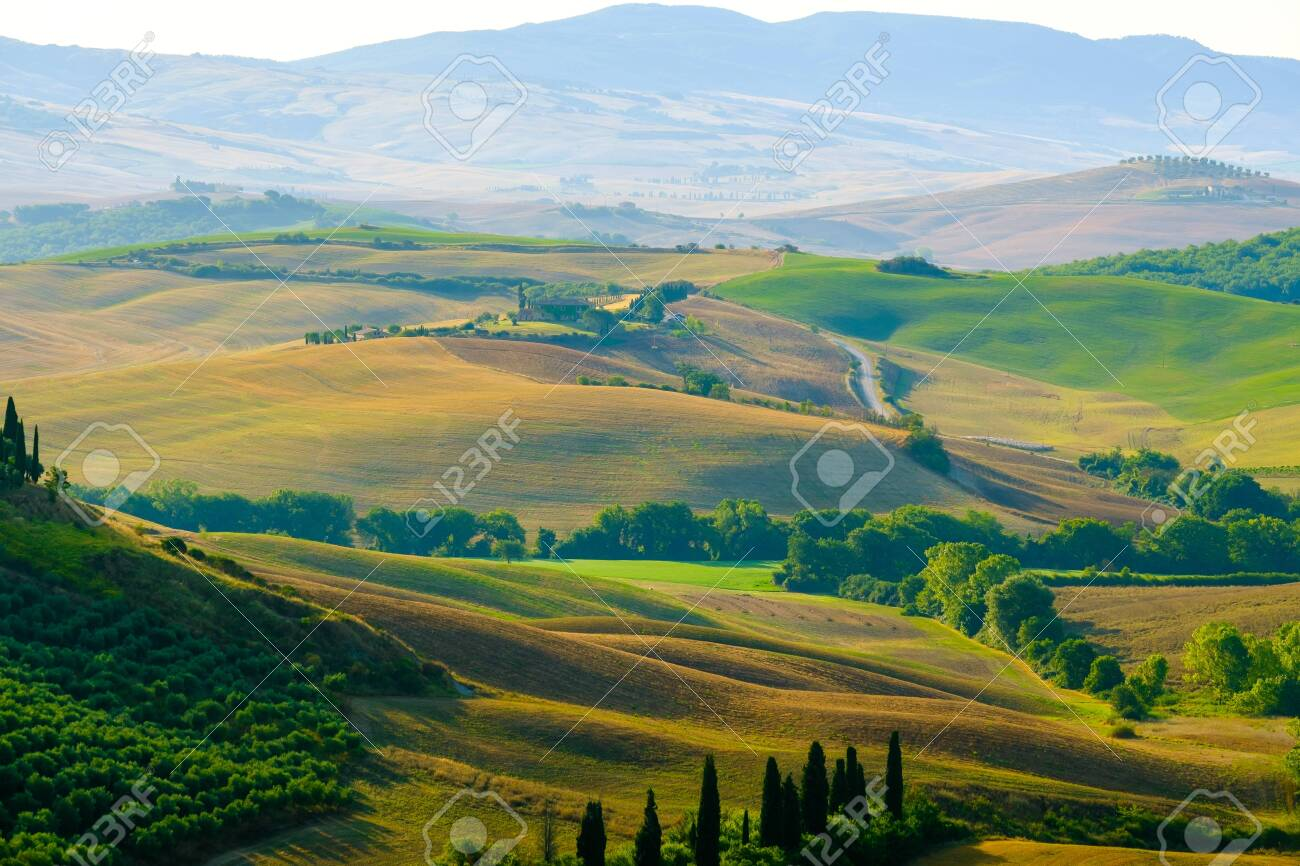 Late summer aerial landscape of valley in Tuscany, Italy - 139509951
