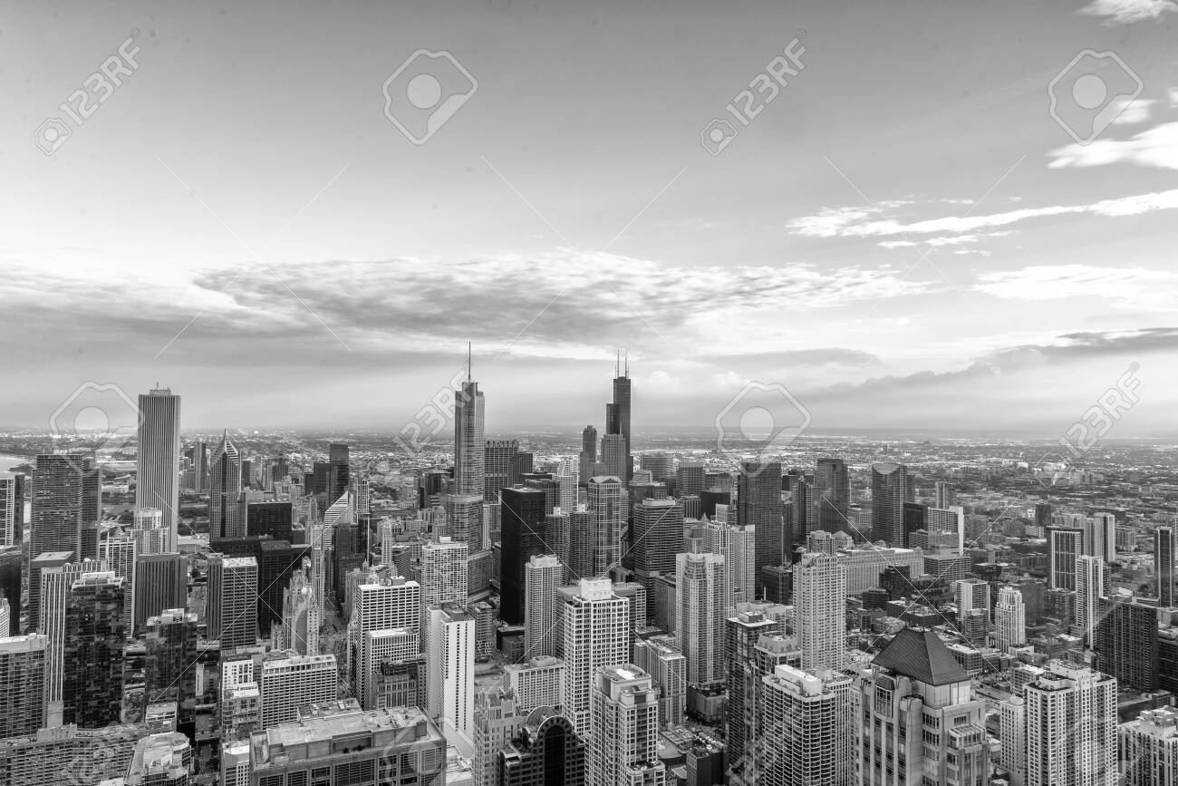 Aerial View of the Chicago skyline. - 131684842