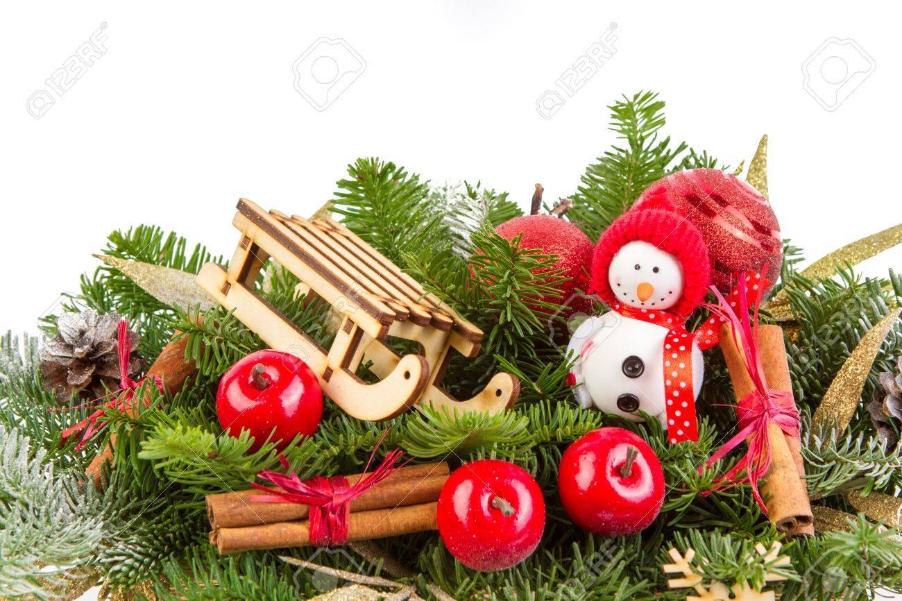 Weihnachtsdekoration Mit Handgemachten Schneeflocken Und Blauer ...