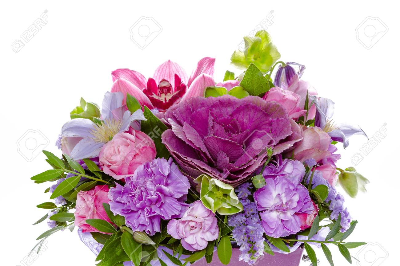 Bright Buketny Composition From Fresh Flowers The White Background