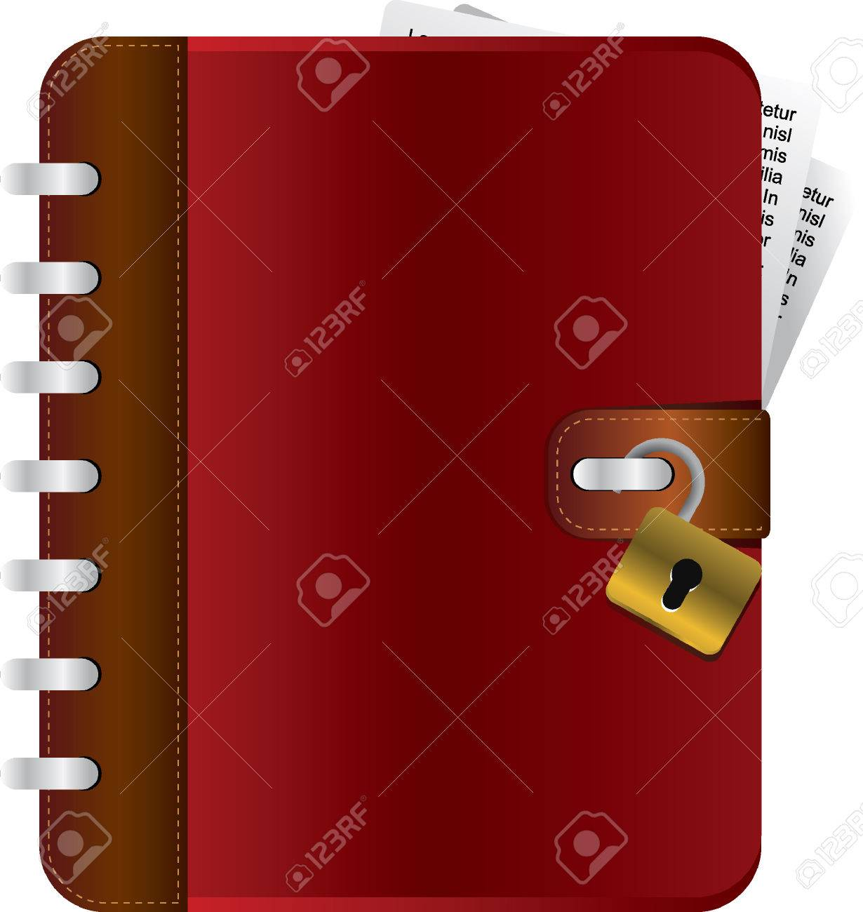 Red diary with an opened lock Stock Vector - 6694768