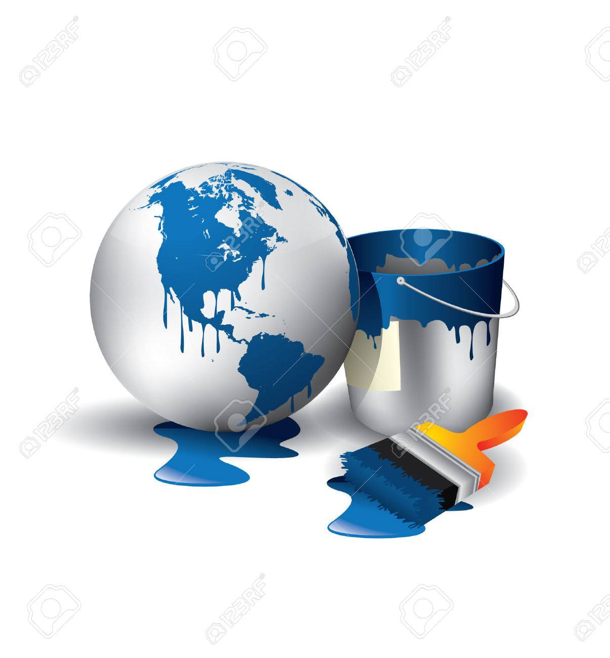World painted sphere with blue and used brush with can Stock Vector - 9072005