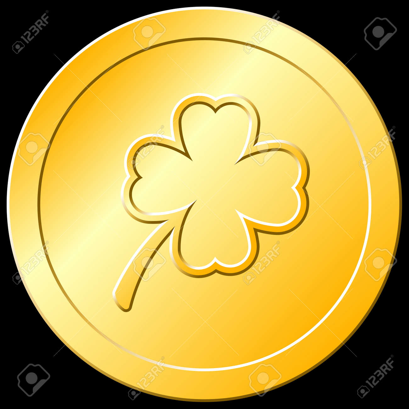 gold shamrock coin royalty free cliparts vectors and stock