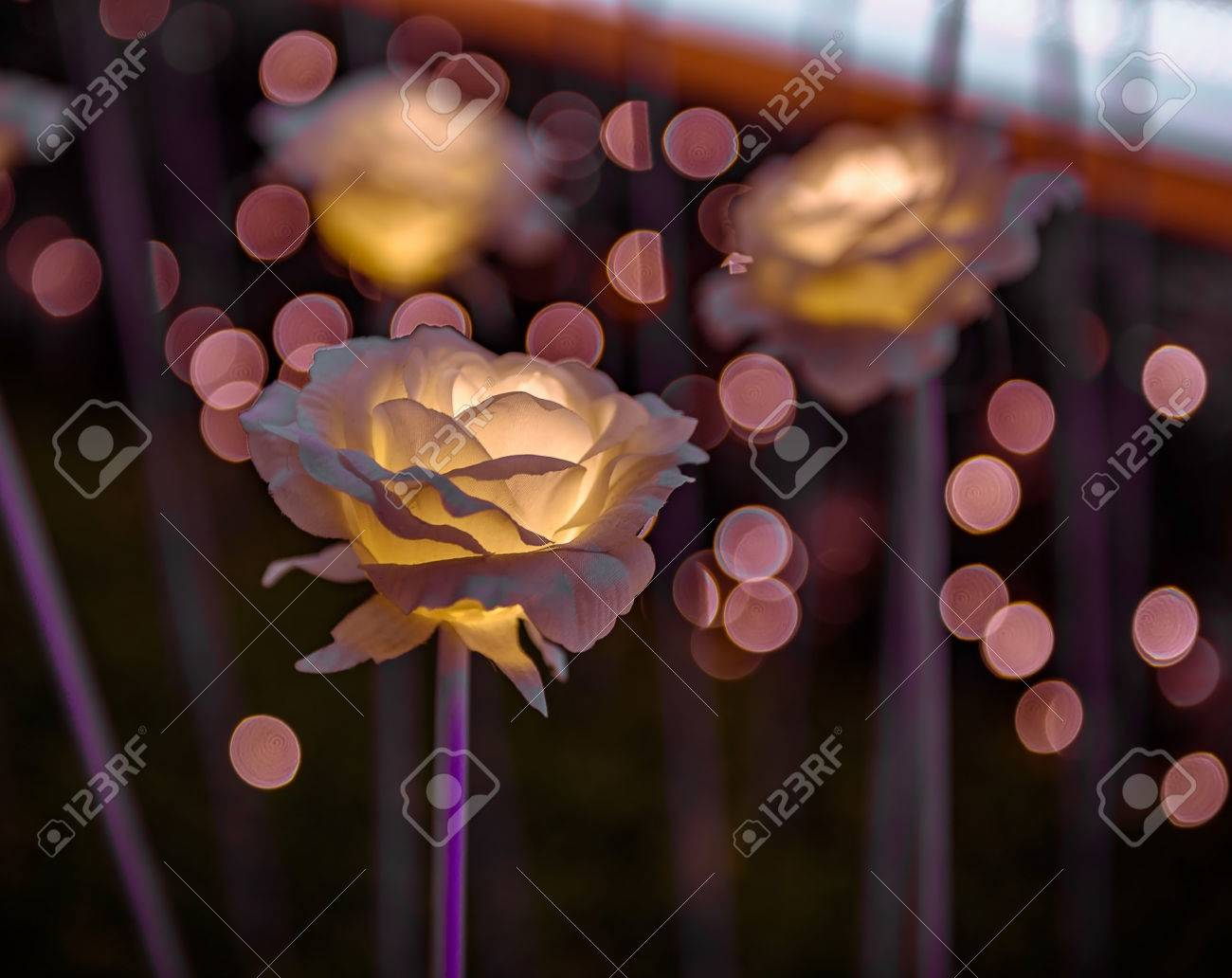 Led Flower Garden With Bokeh At The Rooftop Of The Dongdaemun Stock Photo Picture And Royalty Free Image Image 65539479