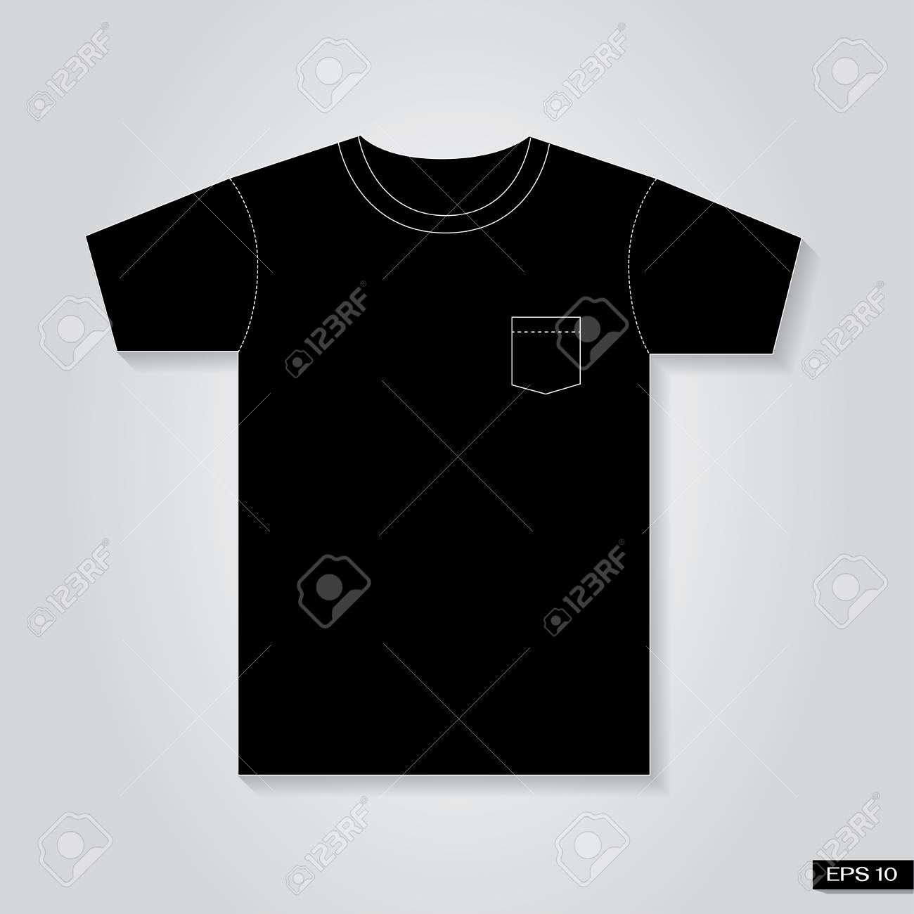 T Shirt Vintage Pocket Black Tone Stock Vector