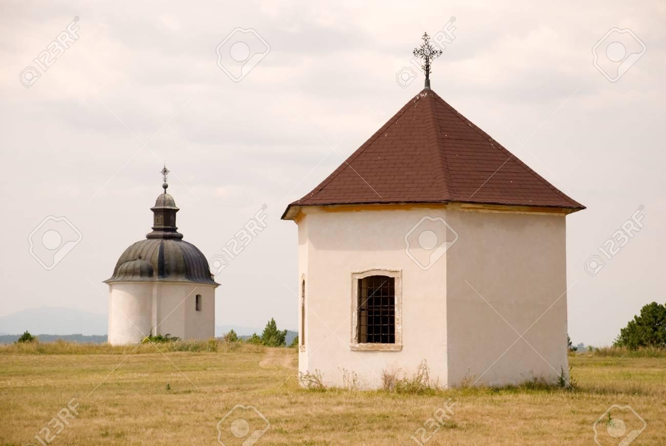 Two adjacent catholic chapels on the hill Stock Photo - 2639396