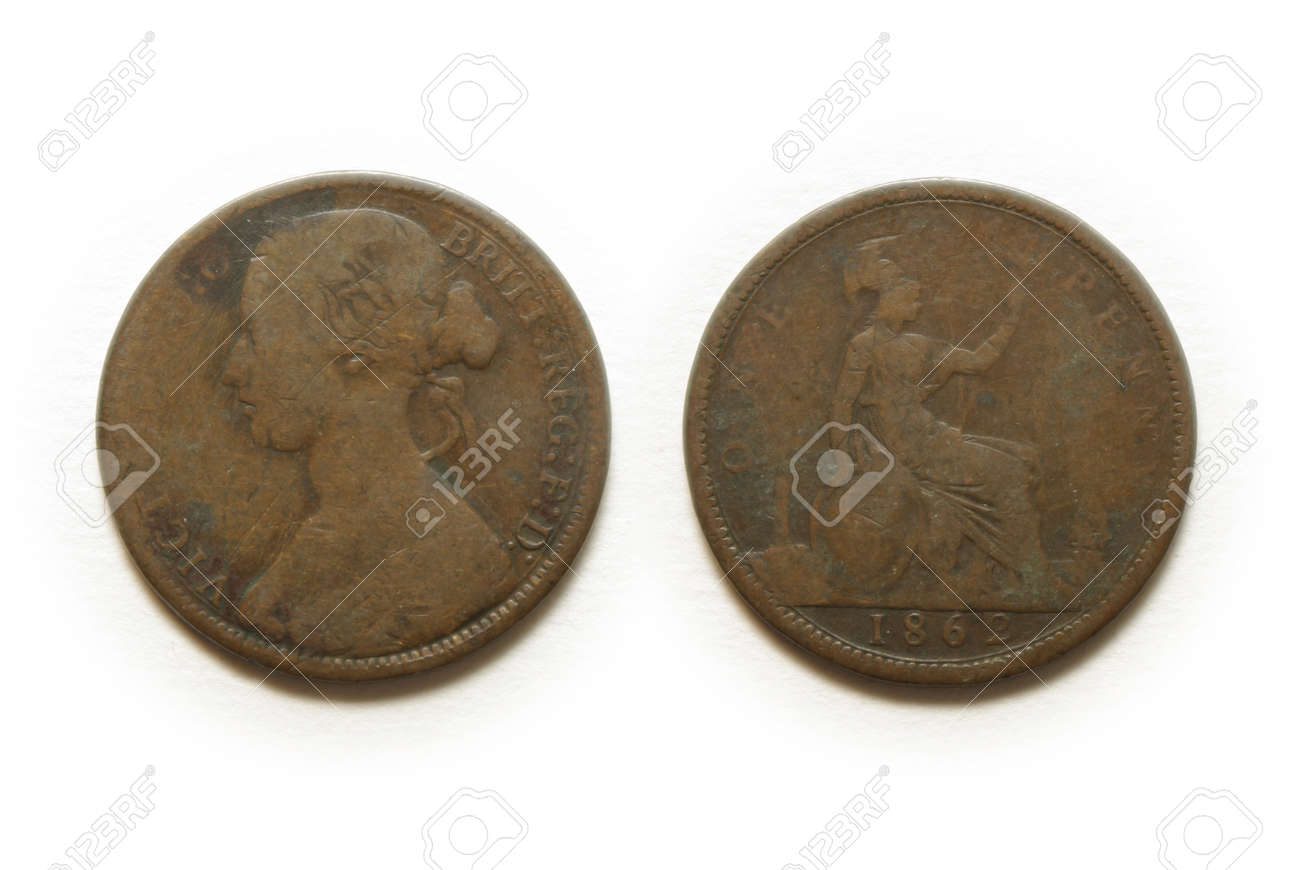 1862 british one penny coin Stock Photo - 8352261