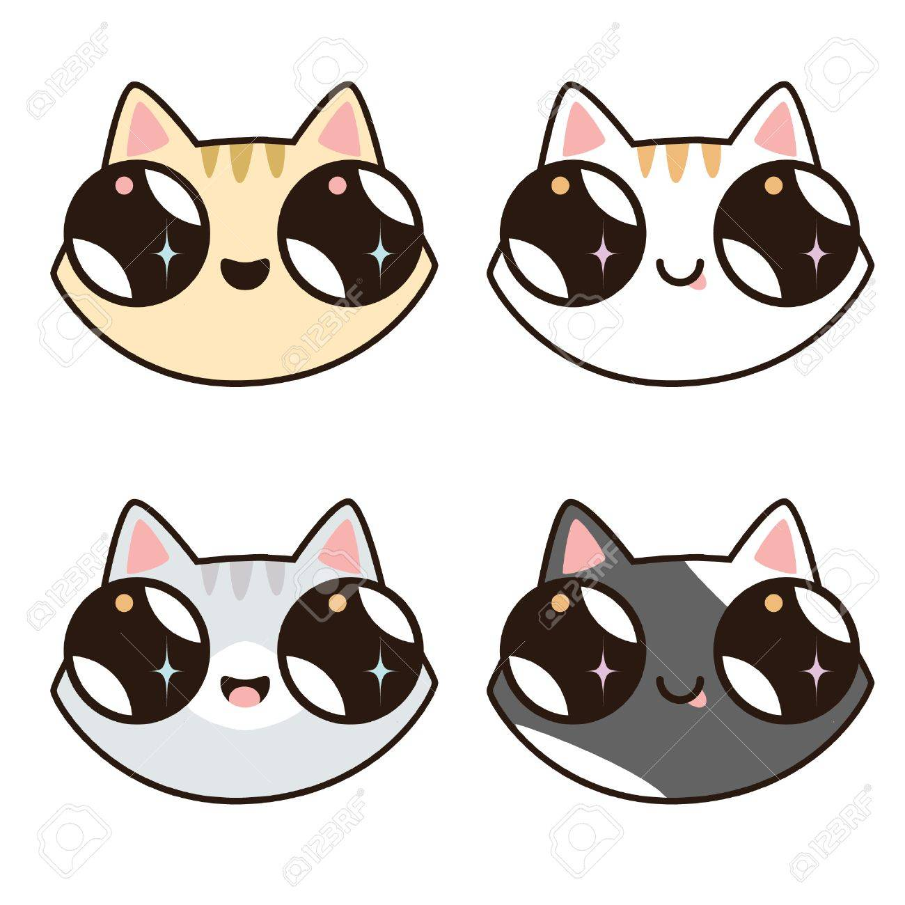 Set Of 4 Kawaii Cats 4 Cat Faces Cute Cartoon Kittens Of Different Royalty Free Cliparts Vectors And Stock Illustration Image 72740336