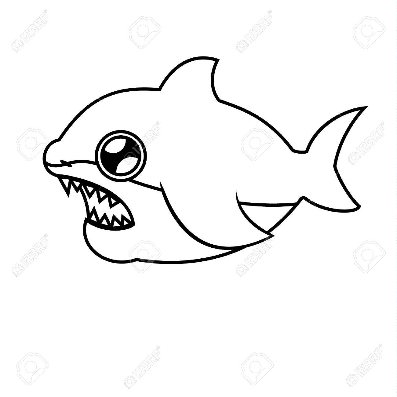 Linear Figure Of A Shark. Coloring. SHARK WITH OPEN JOY. Royalty ...