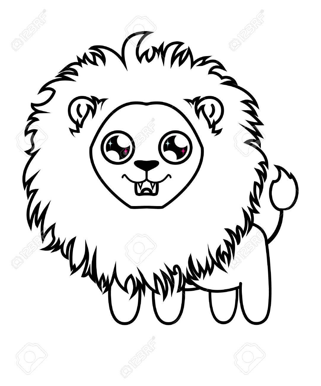 Cher Petit Lion Lionceau A Colorier Lion Affame Clip Art Libres De