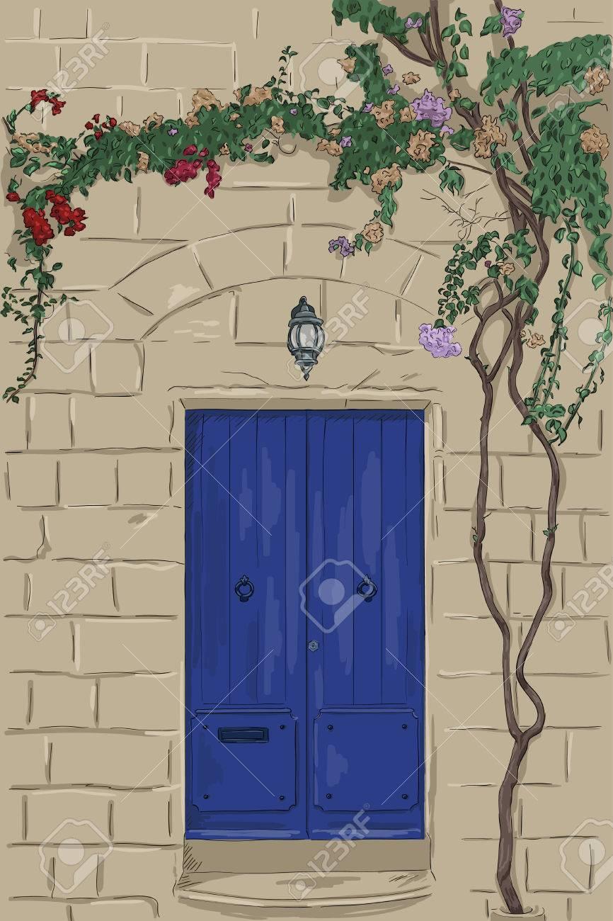 Hand Blaue Tür Mit Lampe Gezogen. Steinwand Mit Baum Klettern. Startseite  Steinportal Standard