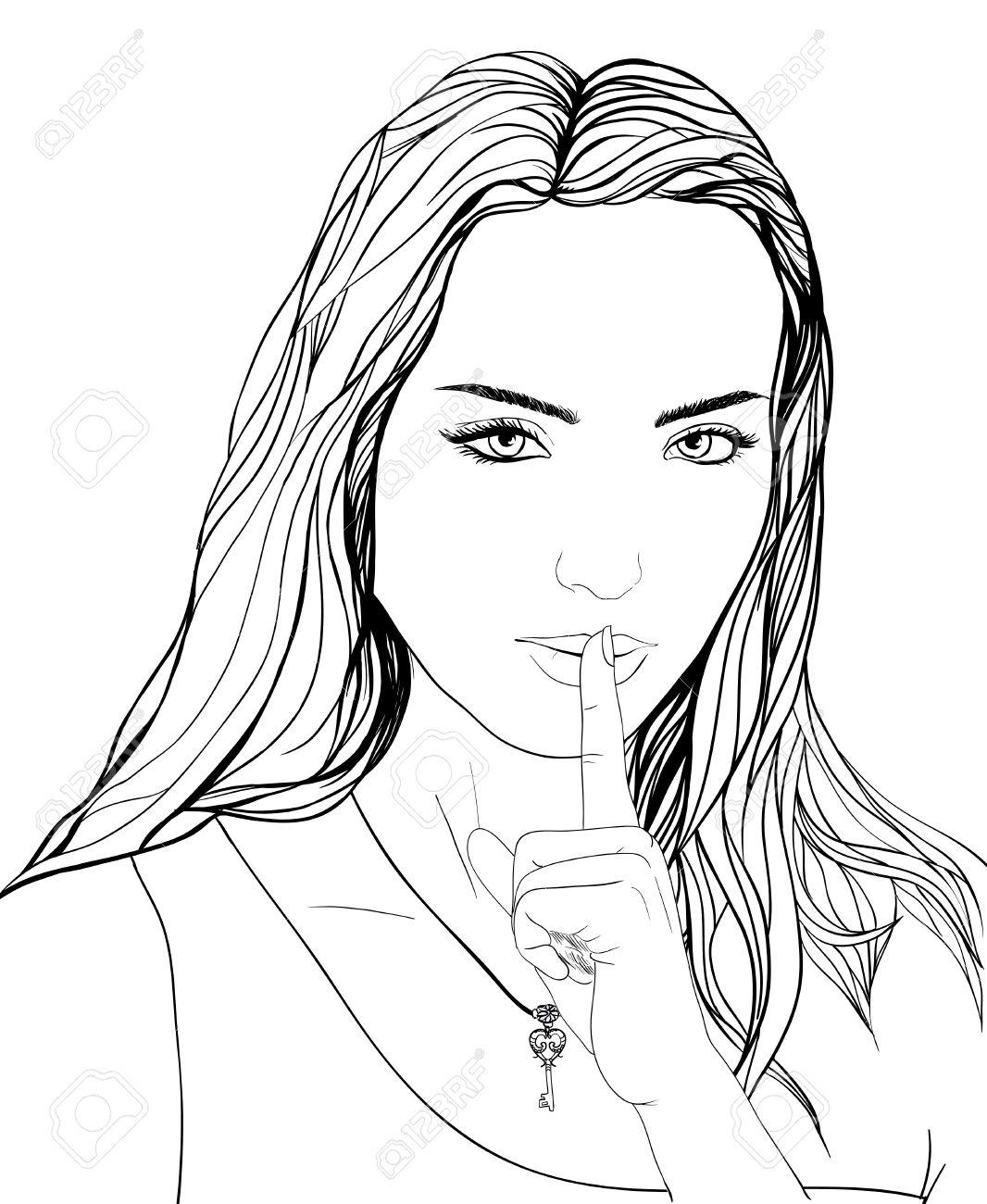 Gezeichnet Portrat Junge Frau Finger Auf Den Lippen