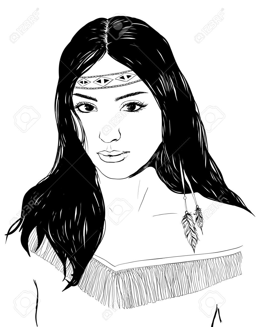 Young american indian woman portrait, hand drawn sketch, cherokee girl with black hair, black white illustration - 57534763