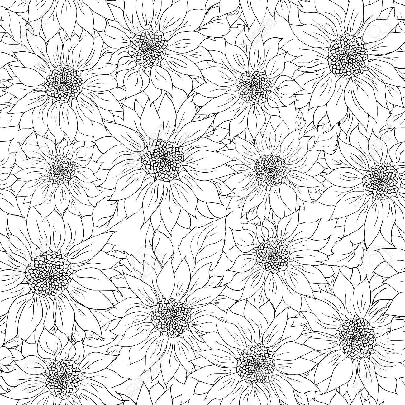 Dibujado A Mano Patrón De Girasoles De Fondo Flor De Girasol En