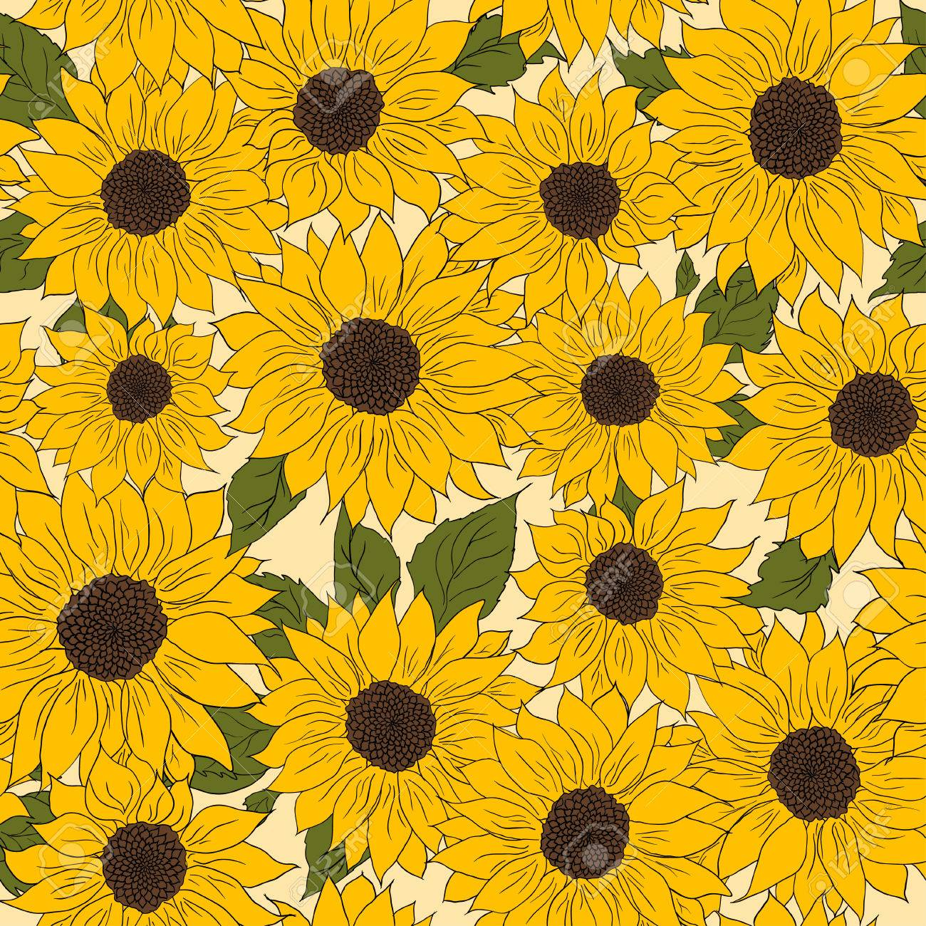 Hand Drawn Pattern Of Sunflowers Background Flower Sunflower Yellow And Brown Packaging Oil