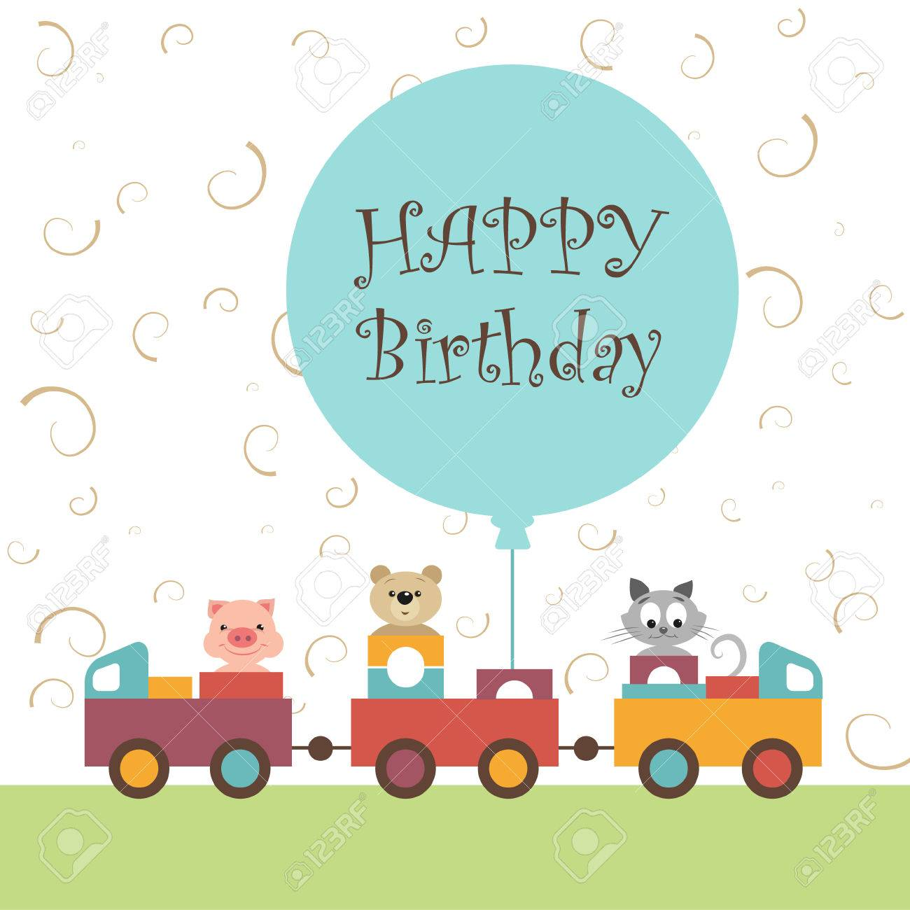 Greeting card for baby album happy birthday colorful train greeting card for baby album happy birthday colorful train carries toys kindly and m4hsunfo