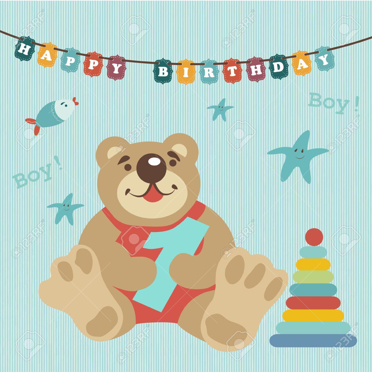 Tarjeta De Felicitacion Para El Album Del Bebe Nino Celebro A 1 Ano