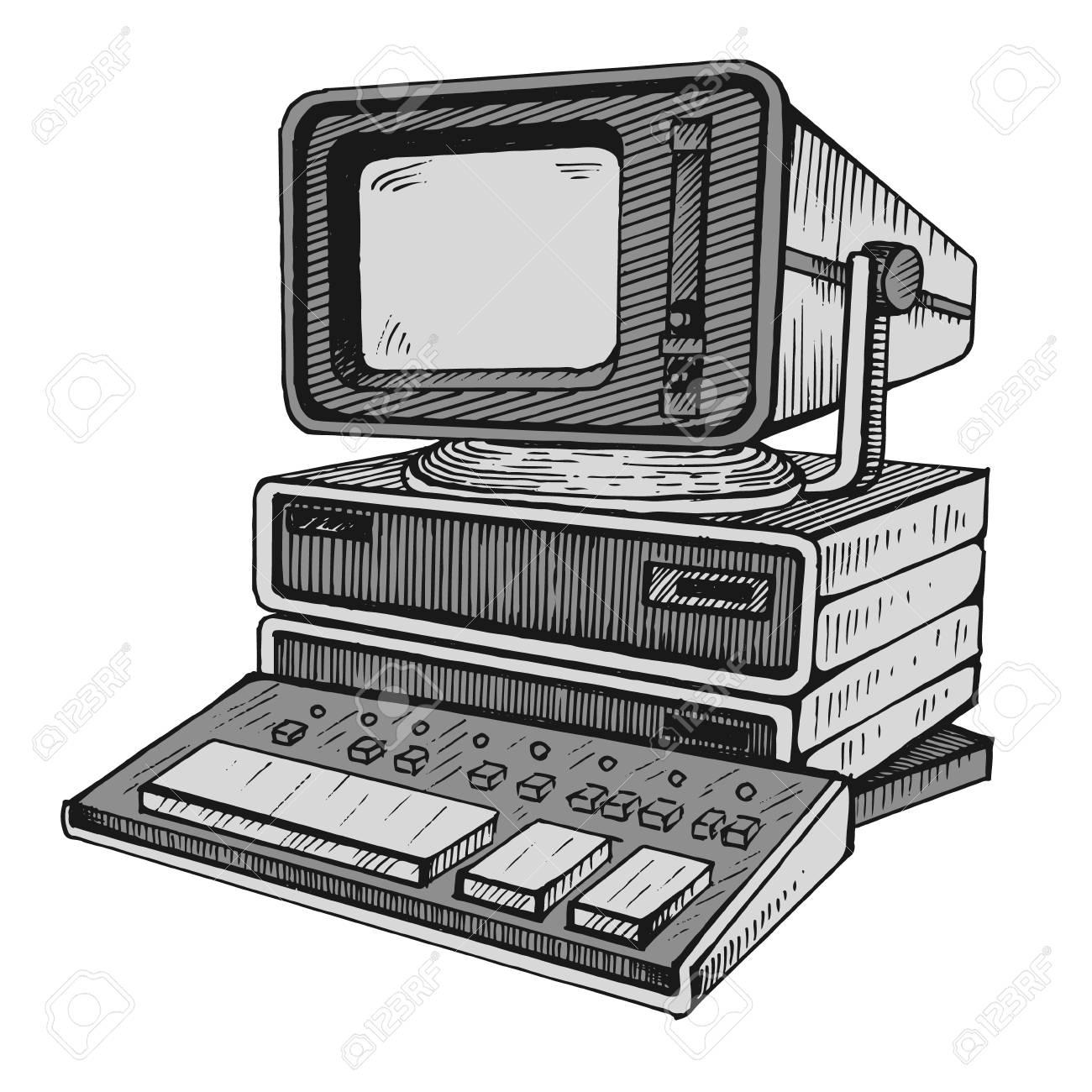 Ancien Ordinateur L Une Des Toutes Premieres Illustrations Clip Art Libres De Droits Vecteurs Et Illustration Image 95796691